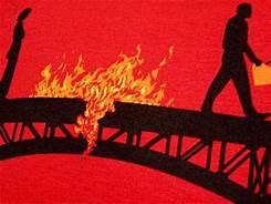 People on Burning Bridge